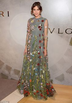 Showing some skin:The sleeves were rendered in a semi-sheer fabric, exposing the 31-year-...