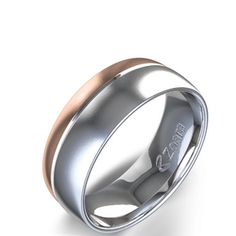 Two Tone Wedding Band in 14k White & Rose Gold