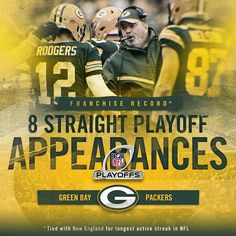 The #Packers are playoff bound for the 8th straight year, which is tied for the longest active streak in the NFL. #GoPackGo 1/1/2017°