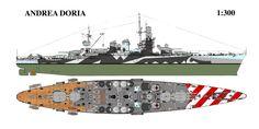 RMN Andrea Doria nel 1940 - Corazzata classe Duilio Ricostruzione avviata l'8 aprile 1937 Entrata in servizio 26 ottobre 1940 Radiata1º novembre 1956 Caratteristiche generali Dislocamentonormale: 28.700 t a pieno carico: 29.000 t Lunghezza 186,9 m Larghezza28 m Pescaggio10,4 m Propulsione vapore: 8 caldaie Yarrow 2 Turbine Belluzzo 2 eliche Potenza: 85.000 CV Velocità27 nodi (50 km/h) Autonomia3390 miglia a 20 nodi (6278 km a 37 km/h) Equipaggio 1.495 uomini