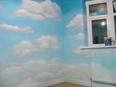 Cloud wall mural. Perfect for kid's bedroom. Could include clouds with a sunshine & rainbows theme, airplane theme, bird theme, etc.