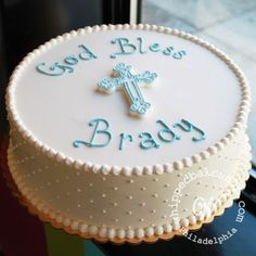 Simple & Sweet First Communion Cake Whipped Bakeshop Boys First Communion Cakes, Boy Communion Cake, First Communion Party, Communion Favors, Baby Dedication Cake, Cake Paris, Confirmation Cakes, Cupcake Cakes, Recipes