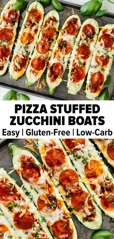 Stuffed zucchini with Italian sausage, marinara sauce, mozzarella and pepperoni creates the tastiest pizza stuffed zucchini boats. It's a great gluten-free, low carb, keto pizza recipe that's healthy! Source by downshiftology Zucchini Pizza Boats, Zucchini Boat Recipes, Healthy Zucchini, Stuffed Zucchini Recipes, Stuffed Zuchini, Zucchini Squash, Healthy Low Carb Recipes, Low Carb Dinner Recipes, Breakfast Recipes
