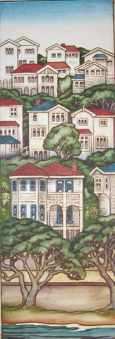 Mary Taylor Wellington Houses Print Art NZ