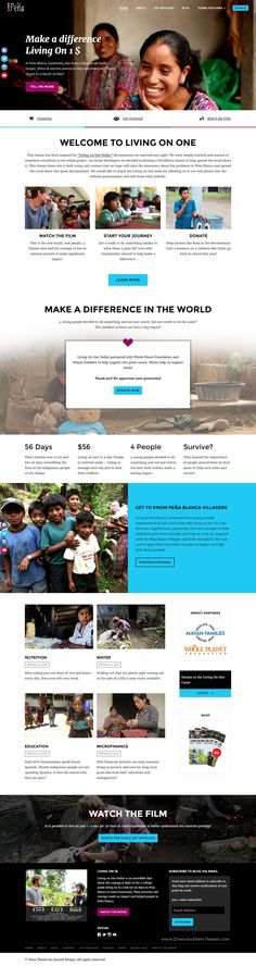"""Pena - Charity/Non-Profit WordPress Theme  inspired by """"Living On One Dollar"""" documentary. #charity #website"""