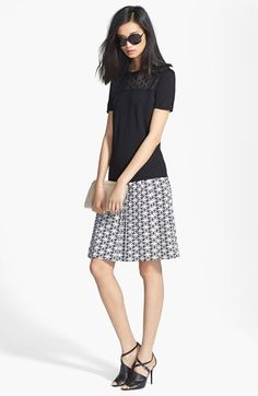 Black and White ----Classiques Entier® Lace Yoke Sweater &  Silk Skirt | Nordstrom
