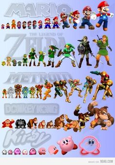 Nintendo character evolutions. I like new Kirby and Donkey Kong ;but I like the second newest Link and Mario.