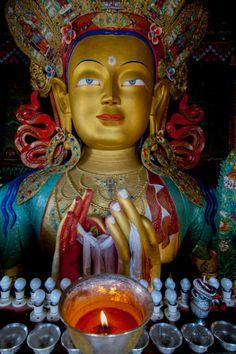 Maitreya Buddha at Thiksey Monastery, Leh, Ledakh, India Poster Print by Ellen Clark x Buddha Buddhism, Buddha Art, Tibetan Buddhism, Om Namah Shivaya, Ganesha, India Poster, Maitreya Buddha, Gods And Goddesses, Ancient Art