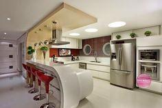 Construindo Minha Casa Clean: 21 Cozinhas Americanas Modernas! Veja Modelos de Bancadas e de Banquetas Lindas!