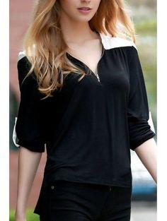 #AdoreWe #Zaful Zaful V Neck Long Sleeve Color Block T Shirt - AdoreWe.com