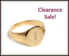 "CLEARANCE SALE, Signet ring, US Size 7, Engraved Letter - ""I"", 14K Gold plated, Personalized ring, Engraved ring, Pinky Ring, Gift idea"