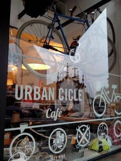Bicycle Cafe, Bicycle Store, Food Business Ideas, Cafe Logo, Urban Bike, Retail Store Design, Bike Parking, Bike Frame, Cycling Art