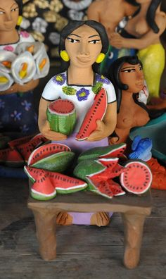 Clay Watermelon Vendor by Josefina Aguilar, Ocotlan, Oaxaca