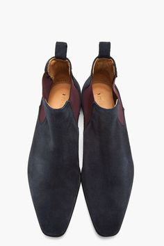 PS PAUL SMITH // Navy and purple Falconer Oceano suede boots