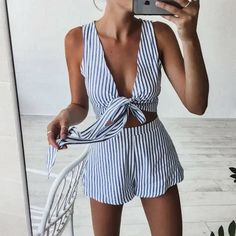 Cheap stripe playsuit, Buy Quality overall jumpsuit directly from China pants jumpsuit Suppliers: Two Piece Set Blue Striped Playsuits Beach Casual Short Pants Jumpsuit Rompers Sexy Sleeveless V Neck Overalls Bodysuit Sashes Crop Top Et Short, Cropped Top, Striped Playsuit, Beach Playsuit, Summer Romper, Striped Shorts, White Romper, Striped Tank, Summer Jumpsuit