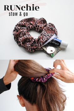 A new way to store your small essentials: A scrunchie with a hidden zipper pocket to stow your keys, fob, money, etc. Can be worn in the hair, on the wrist, or both. Made with quality athletic knit and a hidden zipper so it will protect the hair but stay put! Perfect for the gal on the go. RUN, play, wash repeat! Hands free, care free! Scrunchies, Choker Dress, Diy Choker, Diy Corset, Trash To Couture, Diy Backpack, Knot Headband, Headbands, Dull Hair