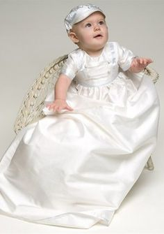 Baby's Christening Gowns with Buttons in Charmeuse