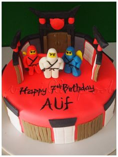 A fondant covered birthday cake for Alif with Ninjago theme.For orders or inquiries,please email us at mail@myvanillapod.com