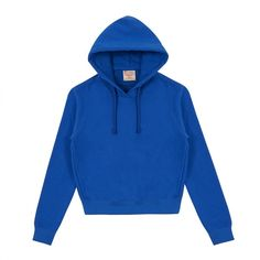 Vetements Womens Champion Fitted Hoodie (Blue) ($540) ❤ liked on Polyvore featuring tops, hoodies, blue top, blue hoodie, hoodie top, blue hooded sweatshirt and blue hoodies