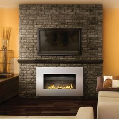 Splendid Wall Mounted Tv Interior Design With Under Tv Wall Mounted Gas Fireplace Attached On Rustic Dark Gray Brick Wall Also Cream Wall Paint Color As Well As Wall Hanging Tv And Install Flat Screen Tv, Delightful Design Tv Wall Mounting Ideas: Furniture, Interior