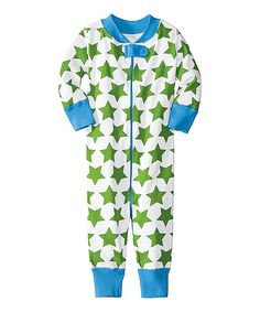 Green & Blue Star Night Night Organic Playsuit - Infant & Toddler | Daily deals for moms, babies and kids