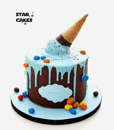 Birthday Drip Cake, Novelty Birthday Cakes, Birthday Cake Decorating, Ice Cream Cone Cake, Ice Cream Party, Fondant Cakes, Cupcake Cakes, Cake Designs For Boy, Drop Cake