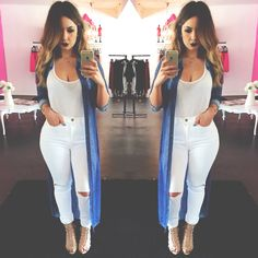 Hot outfit, all white everything, knee slit jeans, high waist jeans, casual outfit, trendy,