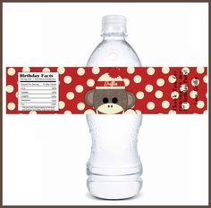 sock monkey water bottle labels printed on label stock for your sock monkey baby shower