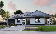 Zdjęcie projektu APS 030+2G LUA1398 House Design Pictures, My House Plans, Bungalow House Design, Exterior House Colors, Building Plans, My Dream Home, Home Projects, Mansions, House Styles