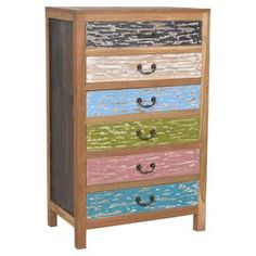 Weathered multicolor chest with six weathered drawers. Made of reclaimed teak.  Product: ChestConstruction Material: Reclaimed teak woodColor: MultiFeatures: Add color and functionality to any roomDimensions: 51 H x 24 W x 18 DCleaning and Care: Remove dust with a soft, lint free cloth