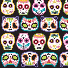 Sugar skulls woop by Pinkupinkupinku Bolo Halloween, Halloween Crafts, Sugar Skull Art, Sugar Skulls, Sugar Skull Painting, Huichol Art, Skull Fabric, Mexican Holiday, Day Of The Dead Skull