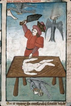 bird feeder Speculum humanae salvationis, France 1470-1480. Marseille, BM, ms. 89, fol. 26
