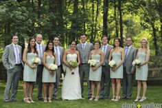 """Sareh Nouri """"Isadora"""" gown AND JCrew dresses in Dusty Shale. This bride stole my wedding! ;D"""