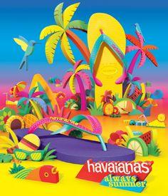 Havaianas Always Summer - Pedro Zuccolini / Design - Illustration Best Flip Flops, Beach Illustration, Jimmy Buffett, Tropical Art, Stand Design, Packaging Design Inspiration, Color Of Life, Event Design, Summer Fun