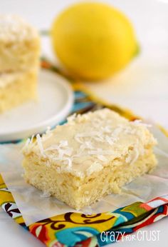 lemon coconut blondies - a rich, cakey blondie filled with lemon and coconut! bake in a square cake tin next time , was too thin in big pan ,used more rind,nice & lemony.used thick lemon butter icing . Lemon Dessert Recipes, Coconut Desserts, Lemon Recipes, Just Desserts, Sweet Recipes, Delicious Desserts, Yummy Food, Jello Desserts, Coconut Cupcakes