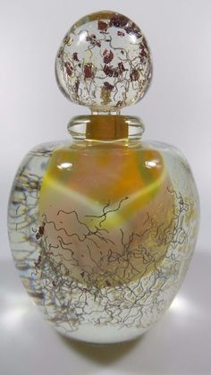 VINTAGE SIGNED MARCEL SABA VERRERIE BIOT FRANCE ART GLASS PERFUME FLACON VESSEL