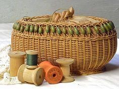 unusual vintage sewing basket