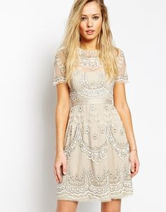 Beige Nude Sequin Embroidered Needle & Thread Embellished Tiered Petal Dress @ ASOS $380