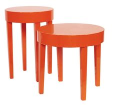 Orange Accent Table Set – The orange accent table set is round with legs that slightly taper in. They are then finished in a vibrant glossy orange lacquer. From contemporary, to Art Deco; from Transitional to a Scandinavian look, plus everything in between this set will fit right into your decor. This table set will look great in an entryway, hallway, living room or any place you need a table. They require some simple assembly.