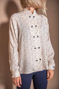 9e11341a439 Floral vintage women blouse | beige blouse | navy blue blouse | mandarin  collar | raglan shirt | modern vintage | S size shirt | viscose