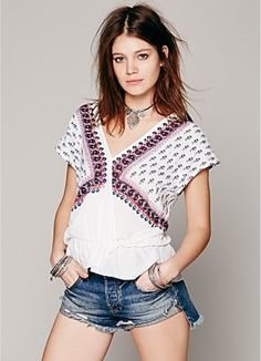 FREE PEOPLE F476T684 MINTY MEADOW PRINTED TOP