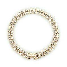 14k Gold Plated Double Row Crystal Tennis Bracelet