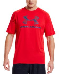 Look at this Under Armour® Red Pattern Hook Tech™ Tee on #zulily today!