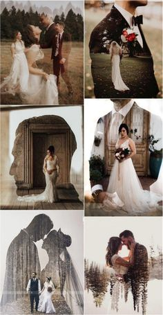 Wedding Trends Double Exposure Engagement & Wedding Photography Ideas If you haven't seen it yet, let us be the first to introduce you to double exposure wedding photos. (By overlaying multiple images, photographers are able to Wedding Picture Poses, Wedding Photography Poses, Wedding Photography Inspiration, Wedding Poses, Wedding Photoshoot, Wedding Shoot, Wedding Couples, Couple Photography, Wedding Pictures