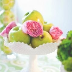 Fresh green & bright pink decor w/ fruit and flowers. Cute for a baby shower
