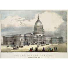 United States Capitol Currier & Ives (Active 1857-1907 American) Lithograph Canvas Art - Currier & Ives (18 x 24)