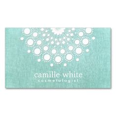 Cosmetology Pretty White Rosette Light Aqua Blue Business Cards