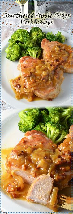 Juicy, thick cut pork chops cooked and then smothered in the most delicious sweet caramelized onion and apple cider sauce; tangy, bright, and full of flavor that tastes incredible!