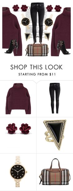 """Burgundy"" by lameen ❤ liked on Polyvore featuring Balmain, H&M, House of Harlow 1960, Marc by Marc Jacobs, Burberry, women's clothing, women's fashion, women, female and woman"
