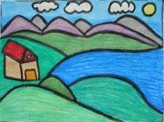 This is a folk art landscape project using oil pastels and black ink. I have a soft spot for folk art landscapes; I find they are so ch...